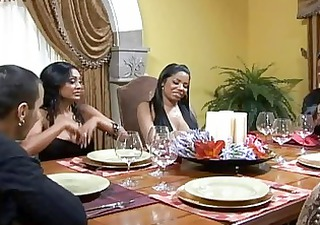 stunning busty dark brown wifes at the table and