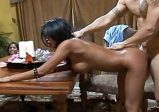 agreeable breasty dark brown wifes fucking hard
