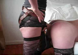 spouse takes a massive cock up his booty from wife